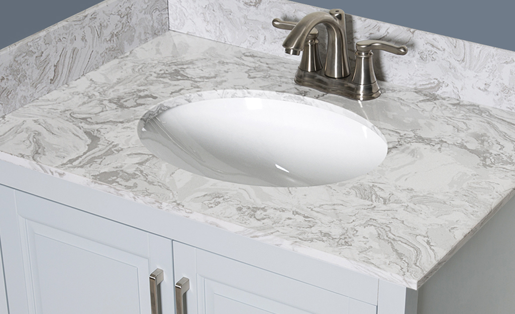 A stone effects bathroom vanity countertop.