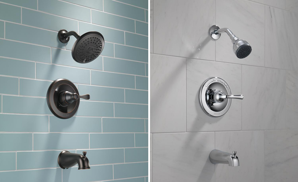 Wall mounted shower faucets in different finishes.