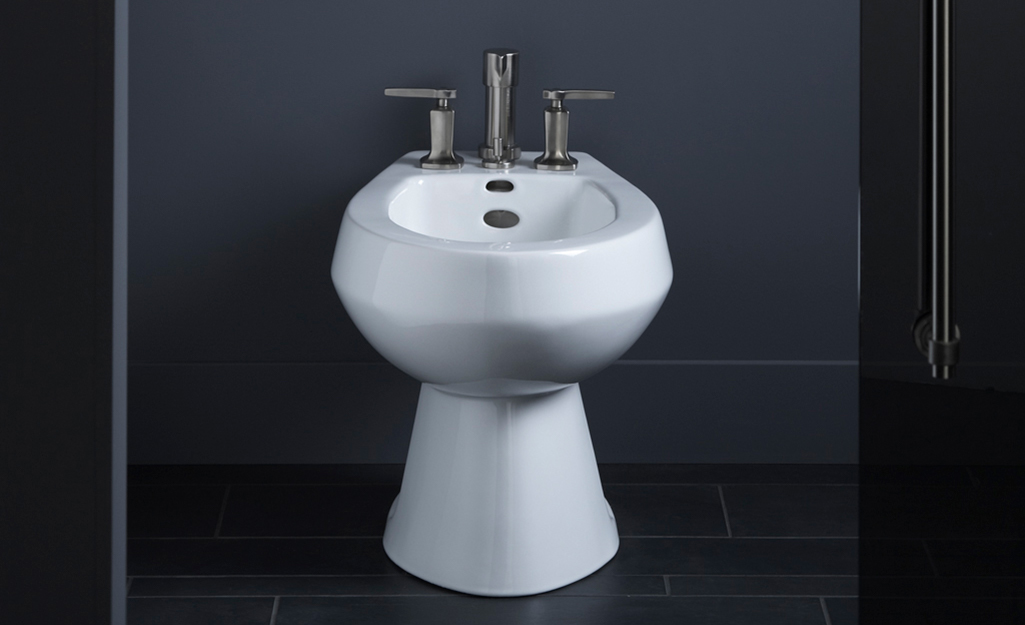 A freestanding bidet installed in a bathroom.