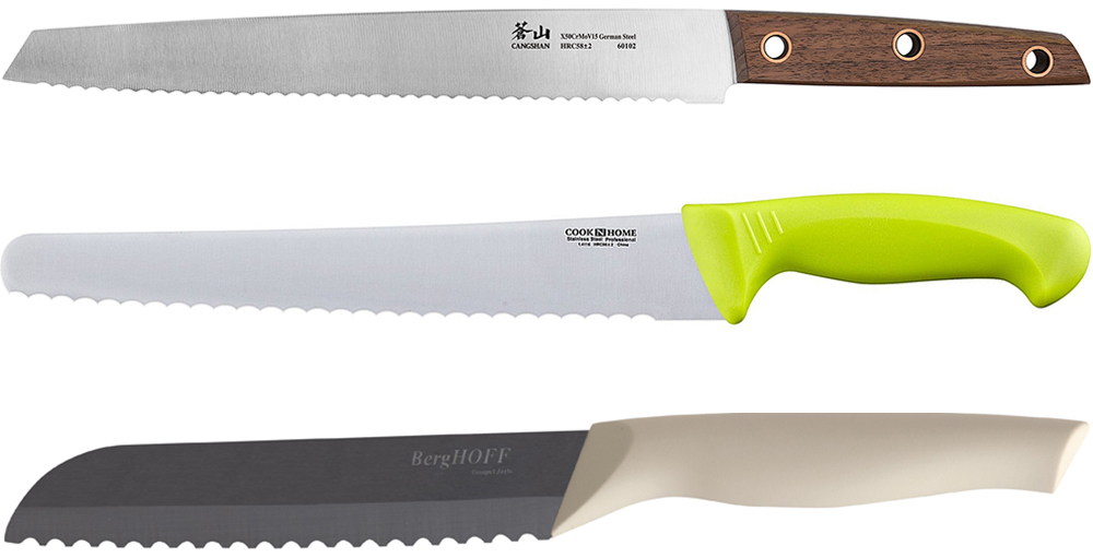 Several bread knives on a white background.