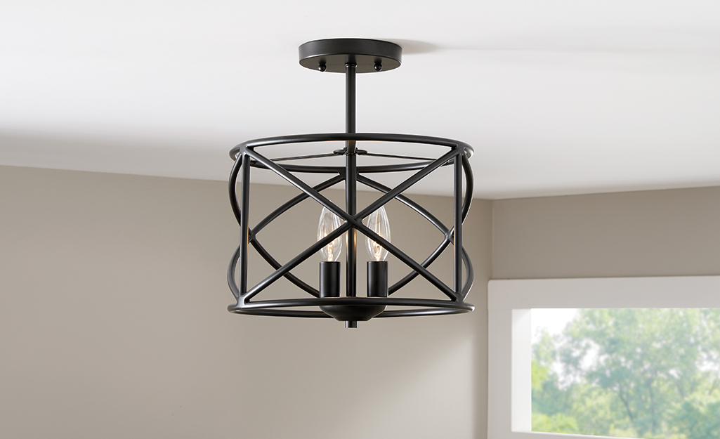 A semi-flush mounted ceiling light.