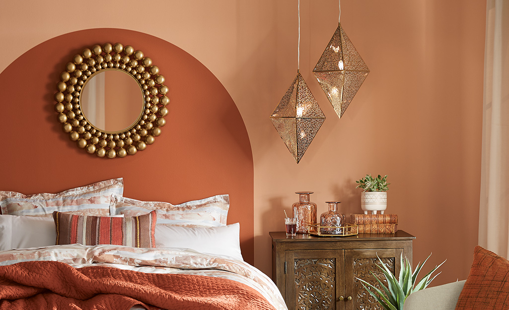 Pendant lights hanging in a bedroom.