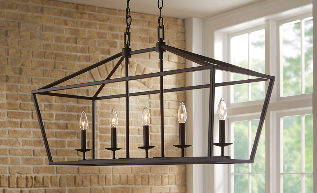 A transitional style cage chandelier.
