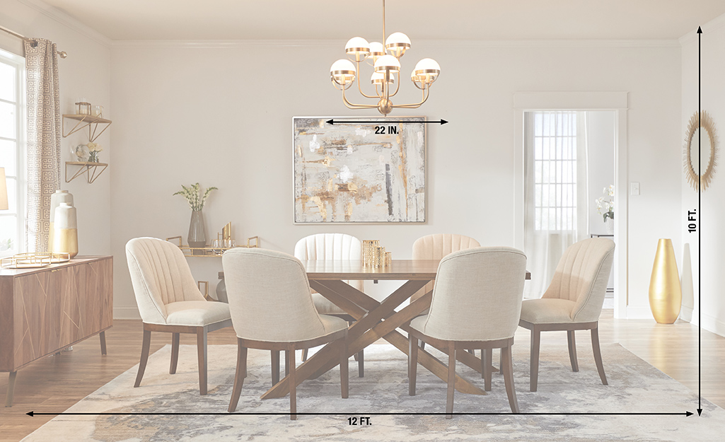 A chandelier in a dining room with measurements of the height and width of the room and the width of the chandelier.