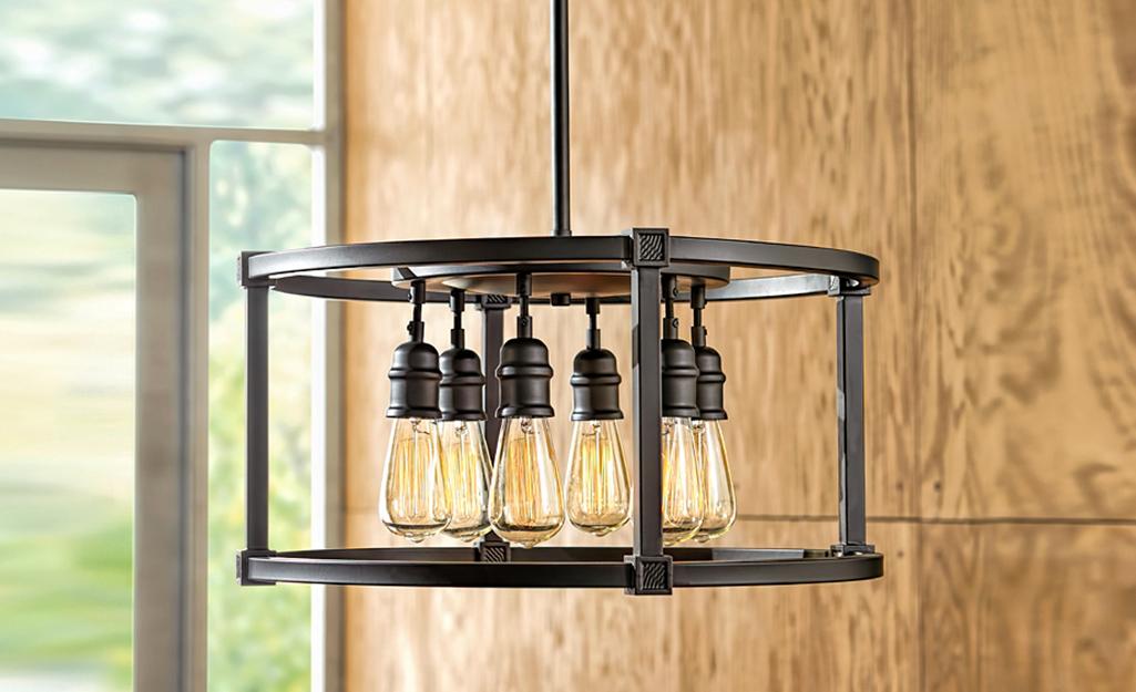 An industrial style chandelier.