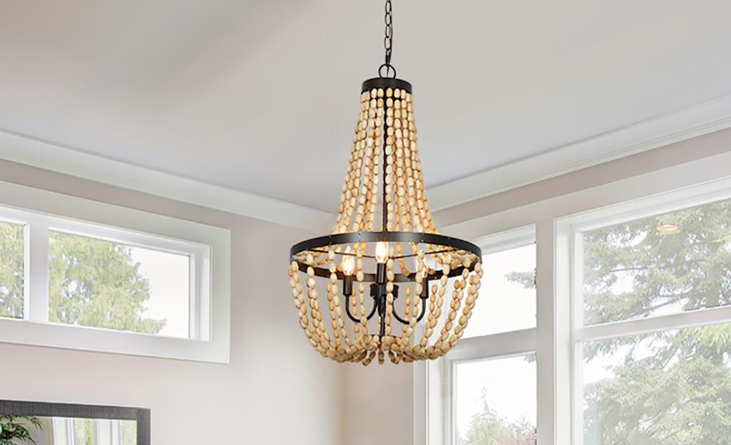 A beaded Bohemian chandelier.
