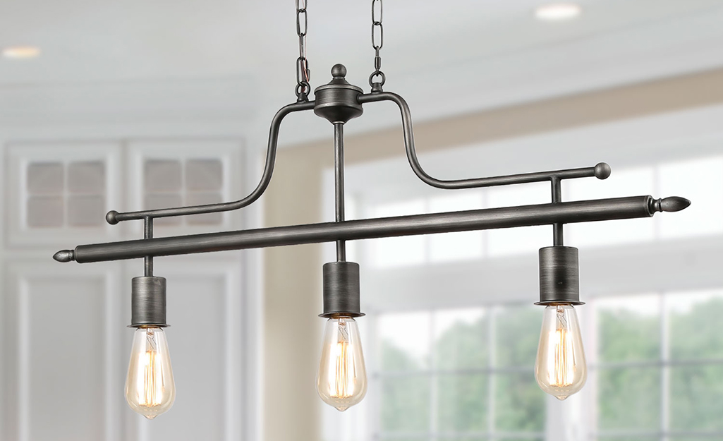 An industrial chandelier with pendant lights.