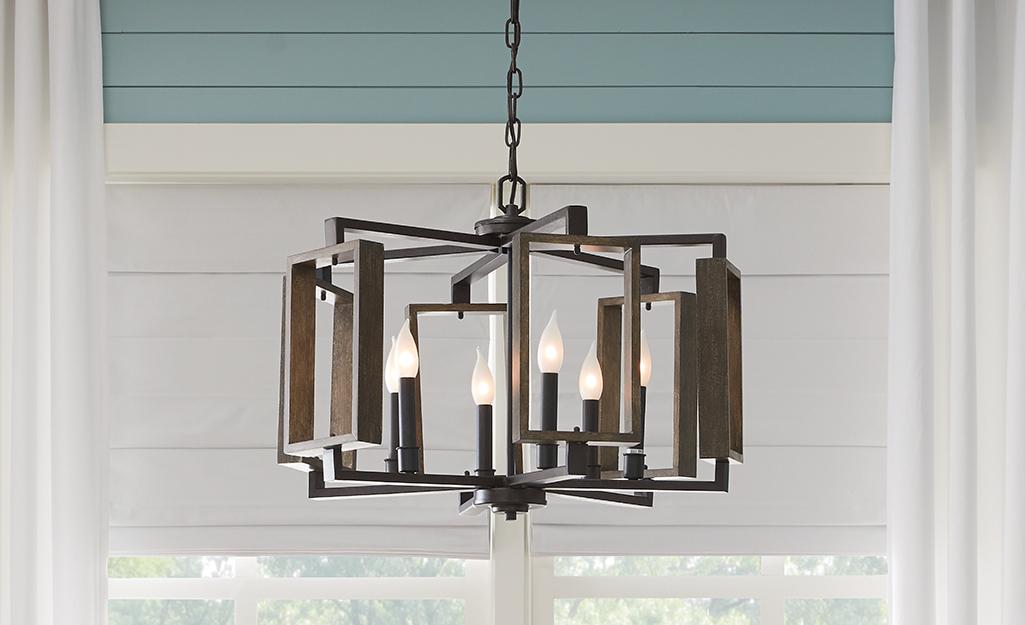 A bronze Mediterranean chandelier.