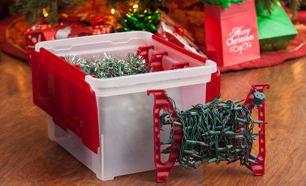 Storage for Christmas lights at your home.