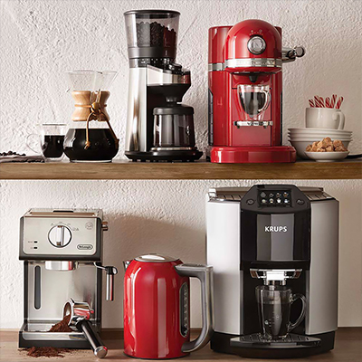 Coffee makers in different colors, styles also sizes displayed supported by two shelves