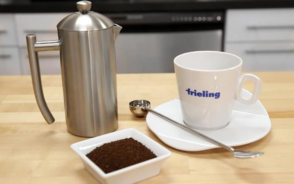 bộ cốc cà phê gốm sứ với bình thép không gỉ