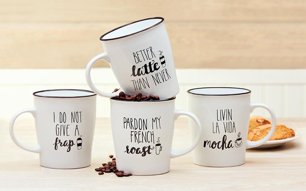 Bộ cốc cà phê gốm sứ 4 mảnh với thiết kế