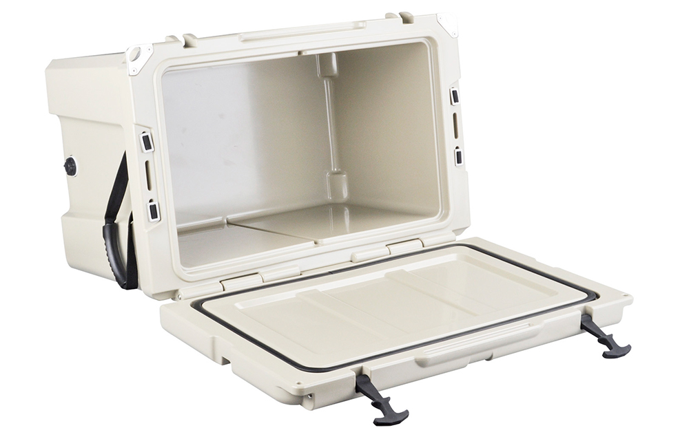 An open, white rotomolded cooler