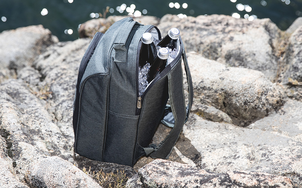 Backpack cooler filled with drinks