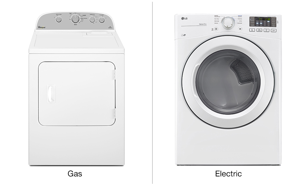 An image shows both a gas dryer and an electric washer side by side.