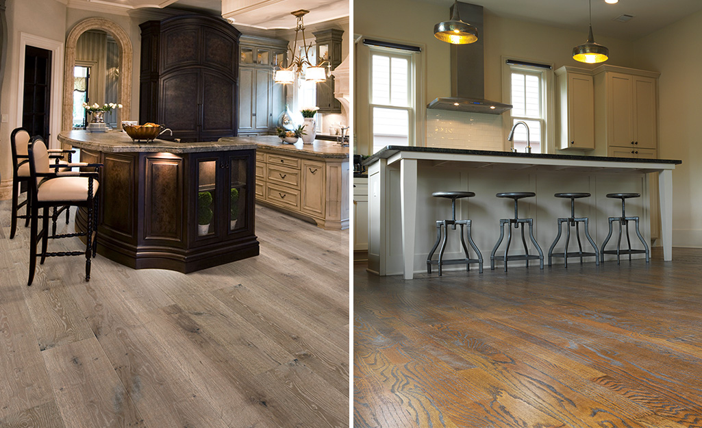A comparison of a kitchen with engineered wood floors on the left and a kitchen with solid hardwood floors on the right.