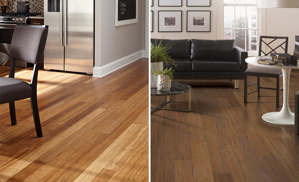 A comparison of a room with engineered wood floors on the left and a room with laminate floors on the right.