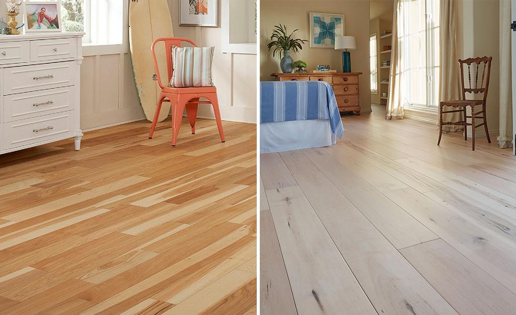 A room with narrow engineered wood flooring planks on the left and a room with wide engineered flooring planks on the right.