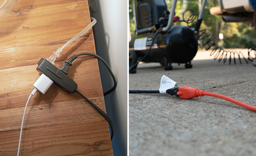 Extension cords powering items indoors and out.