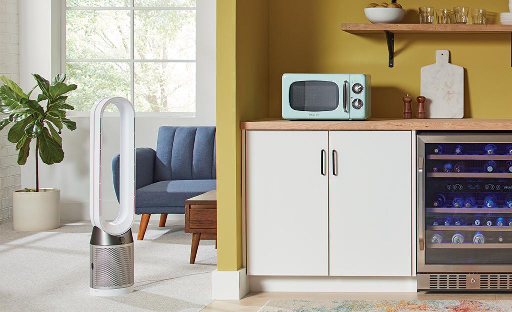 A floor-standing fan that doubles as an air purifier.