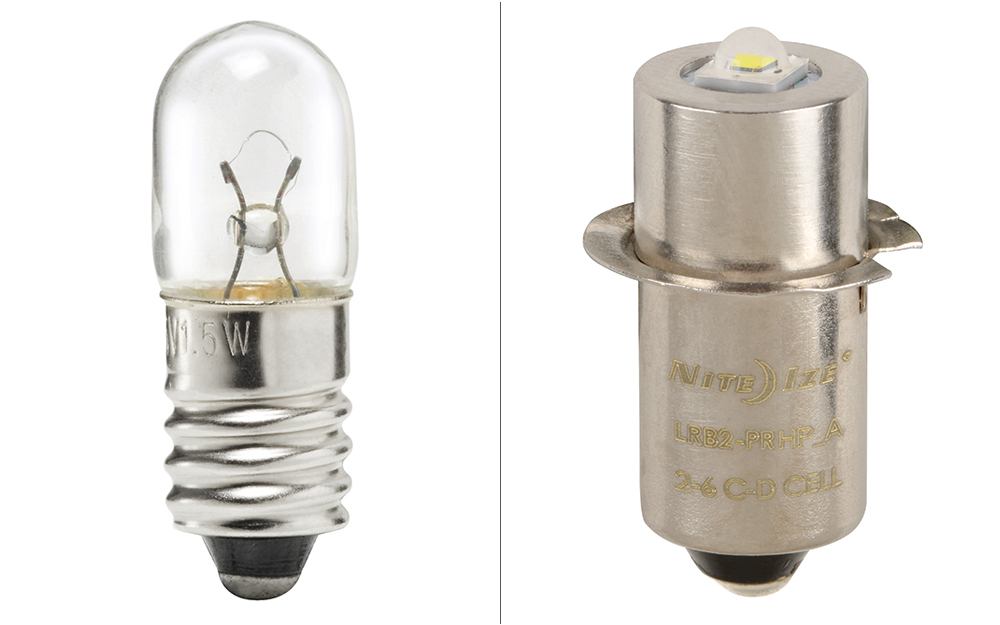 incandescent bulb next to an LED bulb