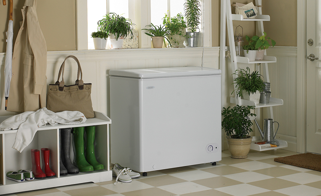 A chest freezer sitting beside a plant stand and a bench in a mud room.