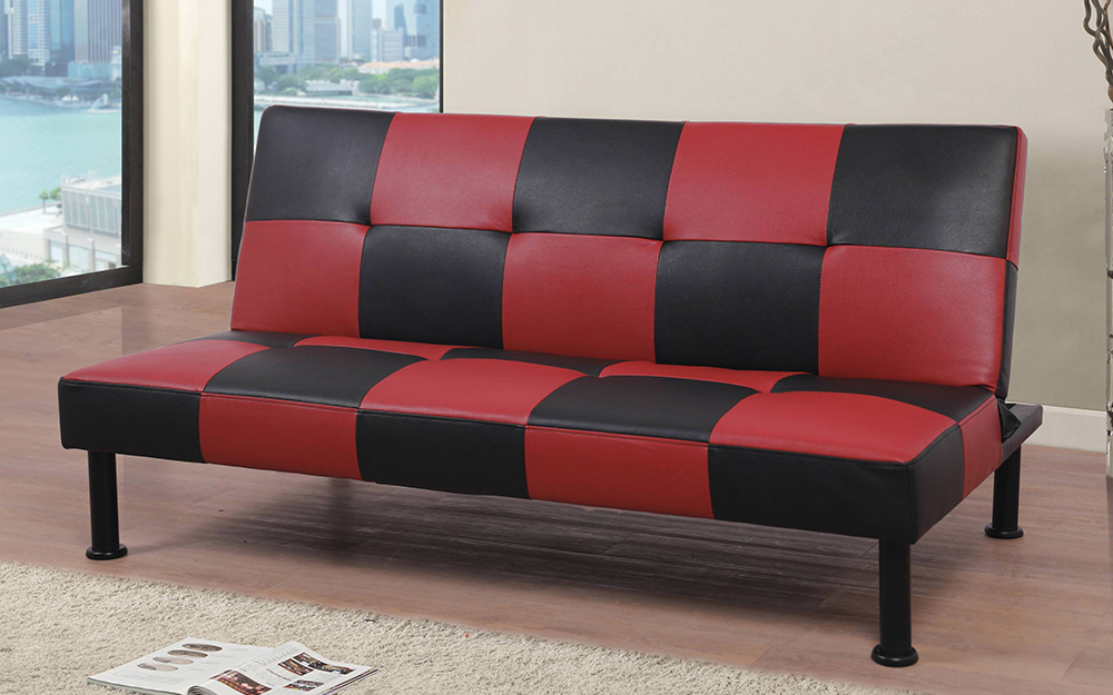 Black and red cover on a futon.