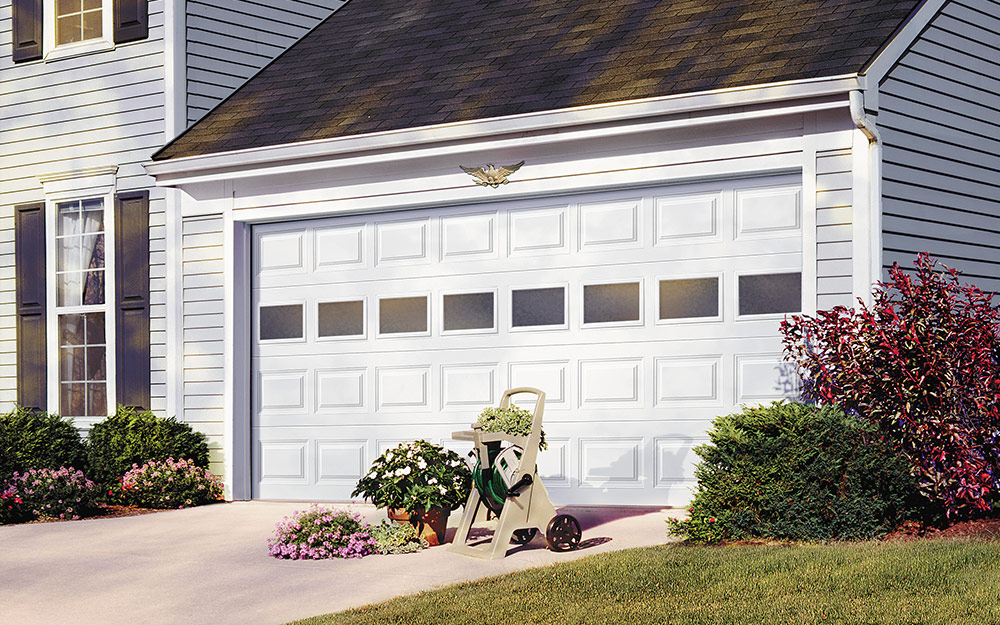 a classic style garage door with windows