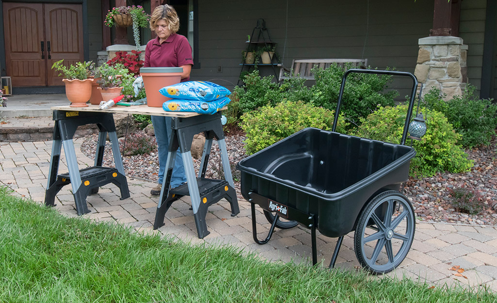 Garden cart in a yard