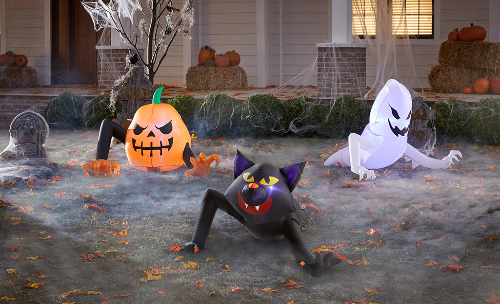 Halloween inflatables in a front yard