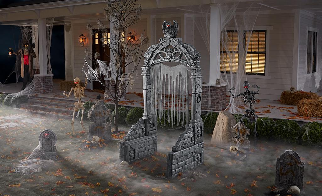 Halloween tombstones in a front yard