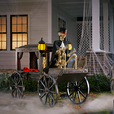 Halloween hearse with skeleton