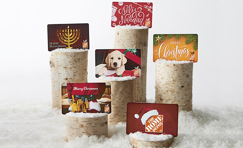 Various gift cards sit on displays.