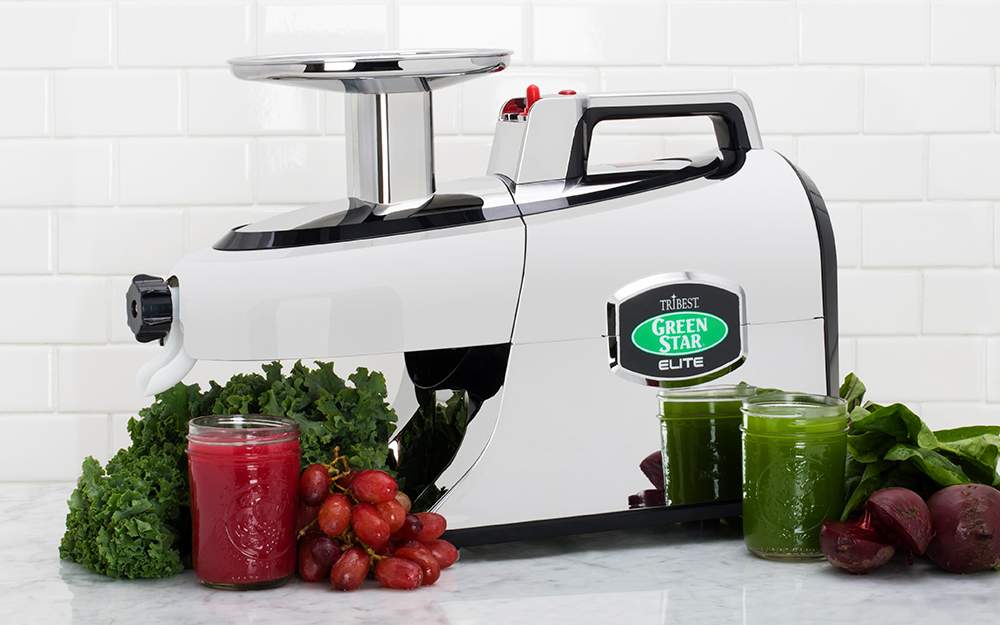 A twin-gear masticatng juicer sits on a counter with fruit and vegetables.