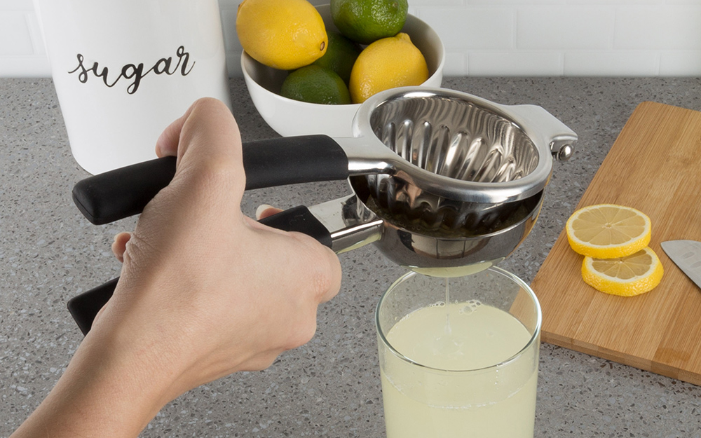 A person squeezing a lemon in a citrus juicer.
