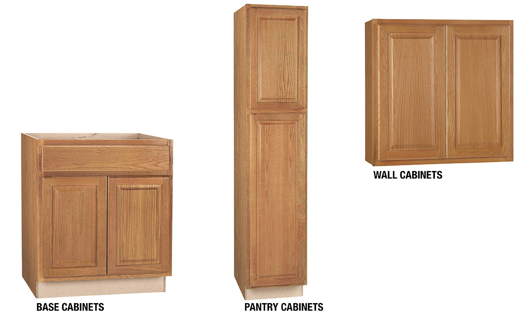 Three configurations of kitchen cabinets from left to right: base cabinets, pantry cabinets and wall cabinets.