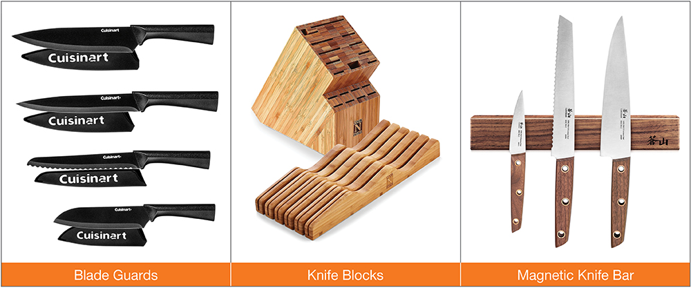 Images of blade guards, knife blocks and a magnetic knife bar.