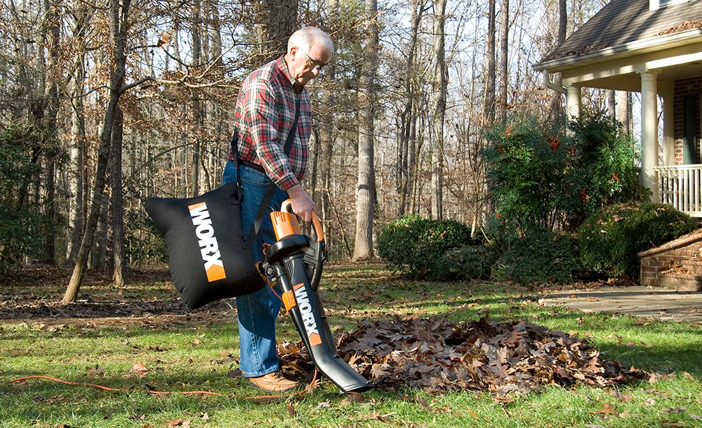 A person uses a leaf blower with a mulching bag to collect leaves.