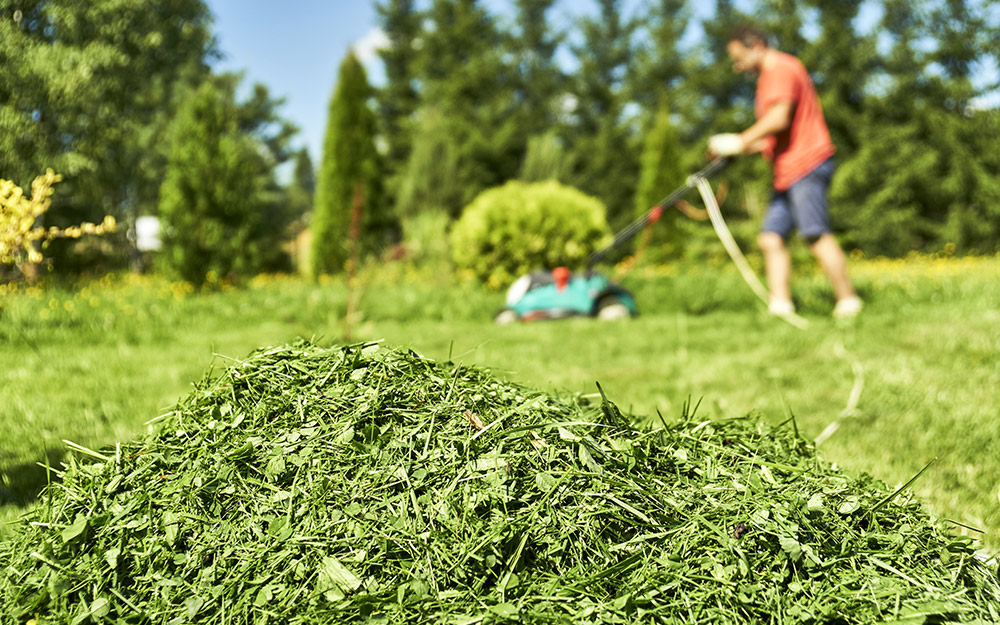 A pile of grass clippings with a person mowing the background.