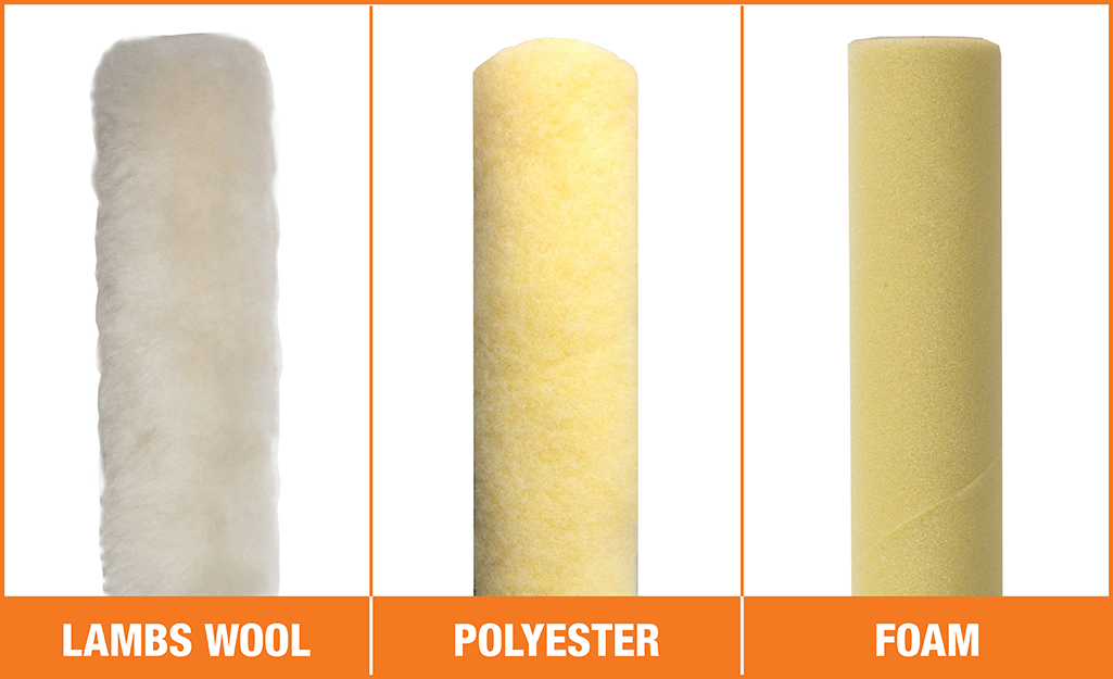 Examples of lamb's wool, polyester and foam paint rollers from left to right.