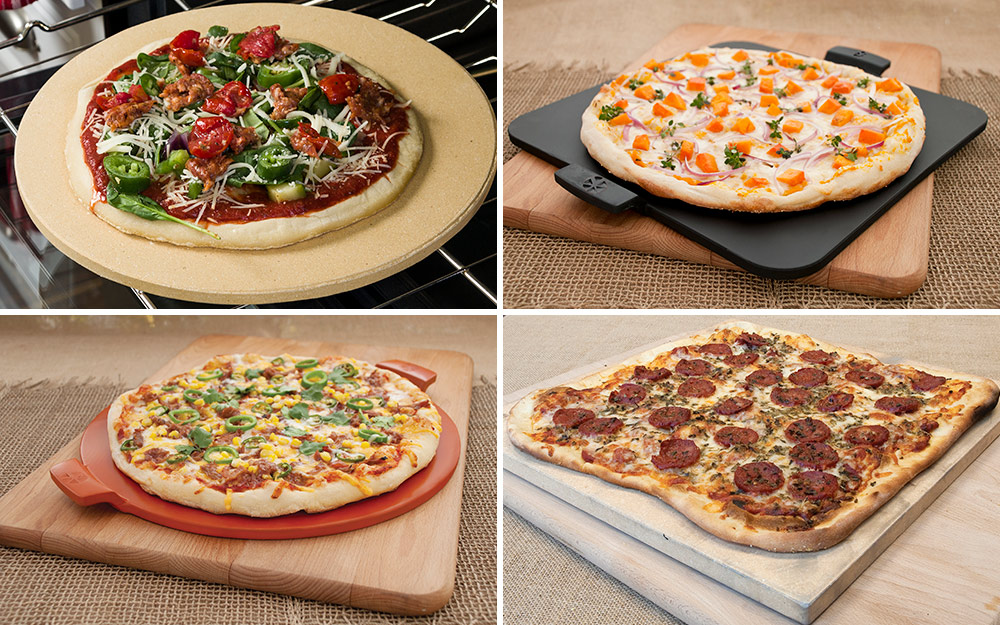 Four pizza stones in various sizes and shapes with pizzas.