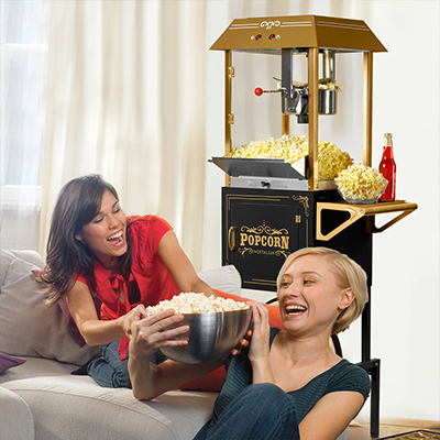 people enjoying popcorn at home