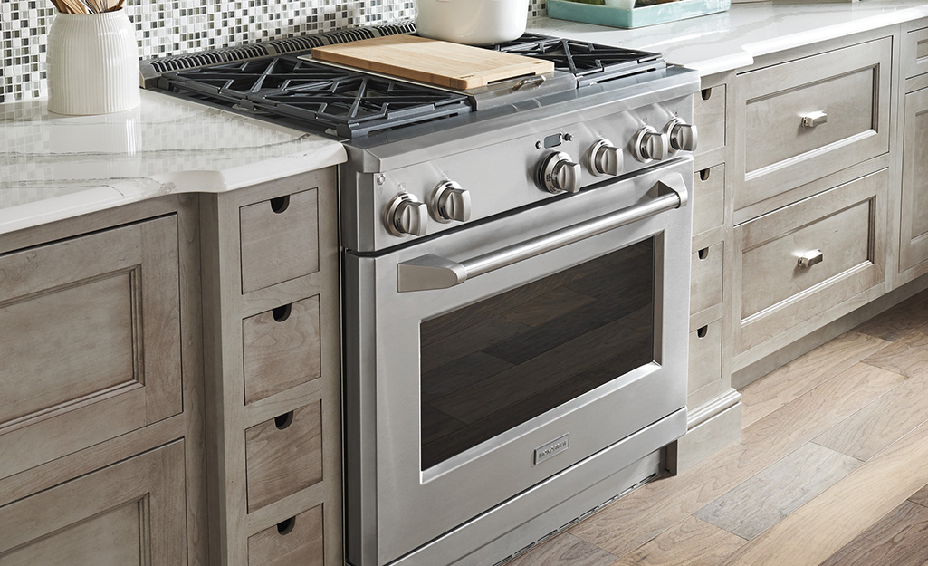 A silver range oven.