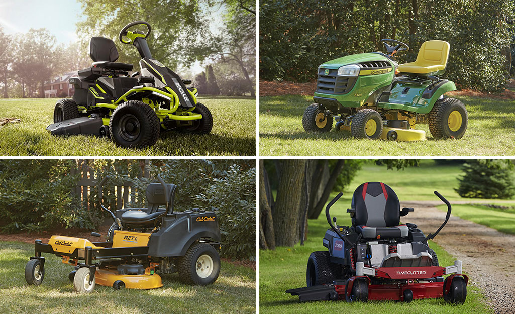 A collage of four different types of riding mowers.