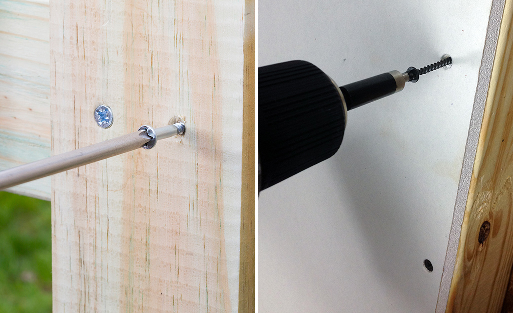 A wood screw being screwed into wood on the left and a drywall screw being drilled into drywall on the right.