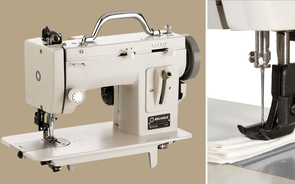 using a specialized sewing machine to stitch fabric