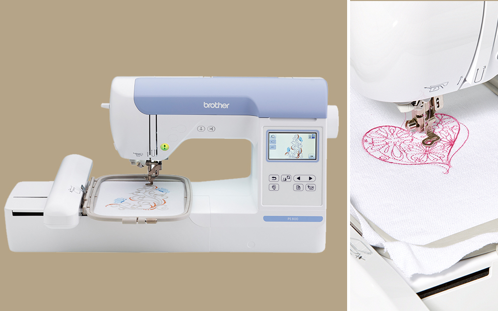 using an embroidery sewing machine to stitch decorative heart onto fabric