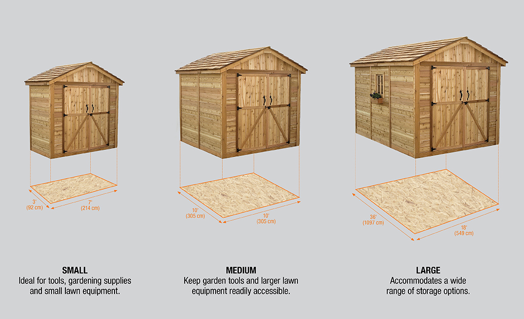 A diagram showing the footprint dimensions of a small, medium and large wood shed.