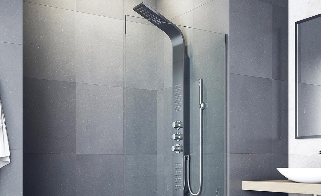 A modern shower head in chrome.