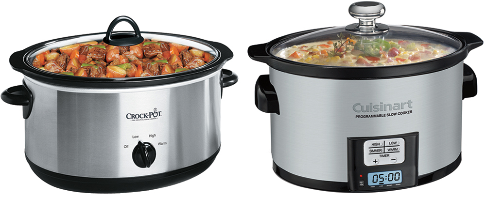Two different types of slow cookers on a white background.